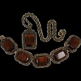 1960's Judy-Lee Bracelet & Pendant Necklace Set, Book Pieces