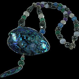 Gorgeous Abalone Pendant Semiprecious Gemstones Vintage Necklace