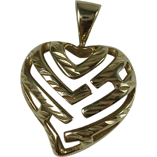 14K Yellow Gold Heart Pendant (1.9 grams)