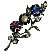 Antique Georgian Diamonds, Ruby, Sapphire Brooch-Appraised $4600 CDN