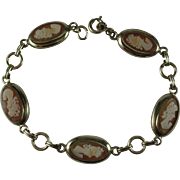 Carnelian Shell Cameo Gold FIlled Vintage Bracelet