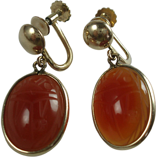 Carnelian Scarab Beetle Gold Filled Earrings