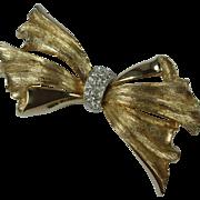 Elegant Pave Rhinestone Gold Tone Vintage Bow Brooch
