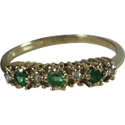 10K Gold Emerald & Diamond Ring-Size 5.75