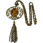 Glass Cameo Pendant Statement Necklace 1970's