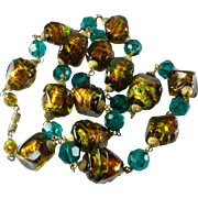 Art Deco Foiled Glass Bead Necklace