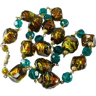 Yummy Art Deco Foiled Glass Bead Necklace