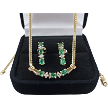 10k Gold Emerald & Diamond Necklace & Earrings Set