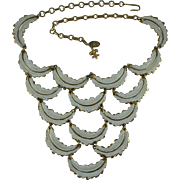 Vendome White Enamelled Feathers Bib Necklace