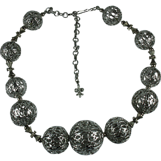 Vendome Silver-tone Filigree Balls Statement Necklace