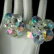 Sherman Rivoli Aurora Borealis Rhinestone & Bead Clip On Earrings