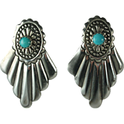 Turquoise Silver Earrings-Native American