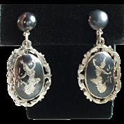 Vintage Siam Sterling Nielloware Earrings