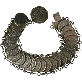Vintage Queen Wilhelmina Netherlands Silver Coin Bracelet