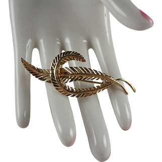 14k Yellow Gold Feather Brooch