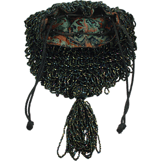 Vintage 1920's Carnival Glass Beaded Purse