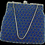 Vintage 1950s Beaded Blue Crochet Purse