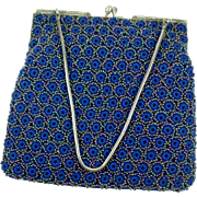 Vintage 1950s Beaded Blue Crochet Purse