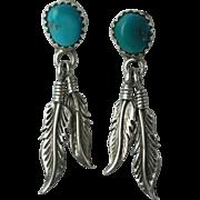 Vintage Native American Turquoise Sterling Earrings