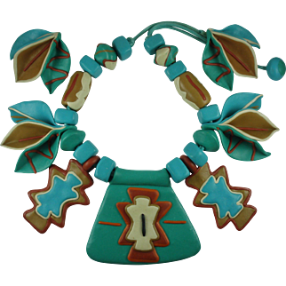 Vintage Southwest Statement Necklace and Earrings-Polymer Clay