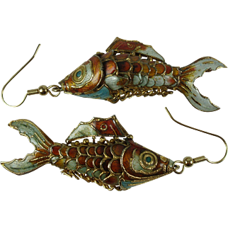 Vintage Fish Earrings-Chinese Enamelled and Articulated