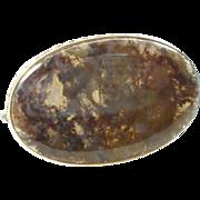 Vintage Dendrite Agate Moss Agate Semi Precious Stone Brooch