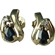 10K Gold Sapphire and Diamond Earrings