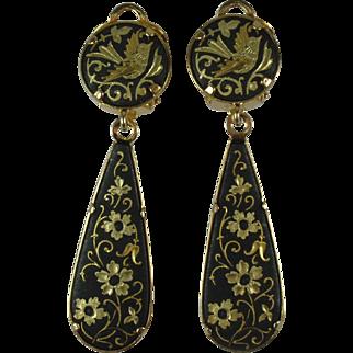 Vintage Spanish Damascene Drop Earrings