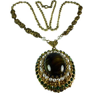 Vintage 1960s Rhinestone and Faux Pearl Pendant Necklace-Western Germany