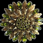 Vintage Green Rhinestone Flower and Leaves Brooch-Large