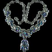 Vintage Blue Aurora Borealis Rhinestone Necklace-Signed Coro
