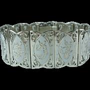Vintage Siam Sterling White Enamel Panel Bracelet
