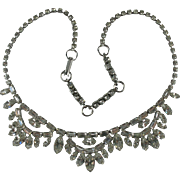 Vintage Sterling Silver Clear Rhinestone Necklace-1950s Signed Jay Flex