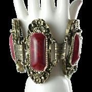 Vintage Raspberry Red Lucite Wide Bracelet