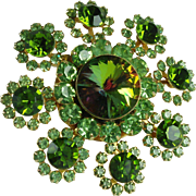 Vintage Green Rhinestone Flower Brooch-Beautiful