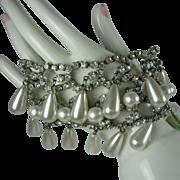 Vintage Rhinestone Pearl Bracelet-Glamorous
