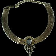 Vintage Hobe Mesh Cameo Choker Necklace
