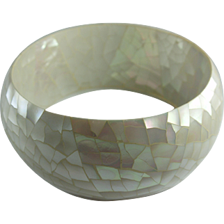 Vintage Mother of Pearl Shell Mosaic Wide Bangle Bracelet