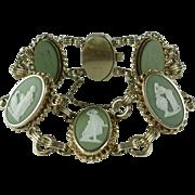 Vintage Wedgwood Green Jasperware Cameo Gold-filled Bracelet
