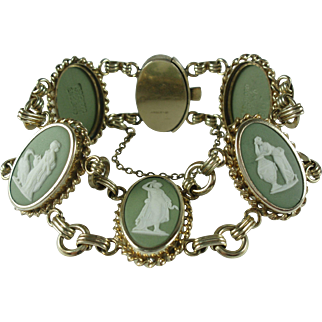 Vintage Wedgwood Green Jasperware Cameo Gold-filled Bracelet