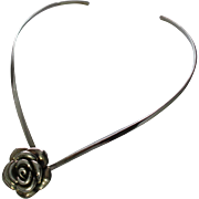 Sterling Silver Rose Pendant Collar Necklace