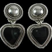 Vintage Sterling Silver Onyx Heart Clip-on Earrings