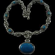 Vintage Native American Sterling Silver Howlite Necklace