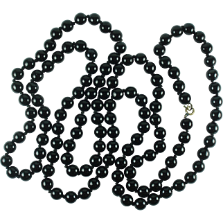 Vintage Black Glass Bead Necklace-50 Inches