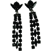 Sherman Black Rhinestone Chandelier Clip-on Vintage Earrings