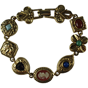 Vintage Signed Goldette Goldtone Charm Bracelet