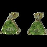 14k Yellow Gold Trillion Cut Peridot Earrings