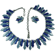 Vintage 1950s Blue Thermoset Lucite Necklace and Earrings Set