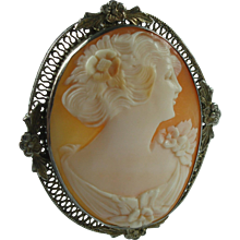 Vintage 1920s Sterling Silver Carnelian Shell Cameo Brooch & Pendant