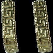 Vintage 14k Yellow Gold Greek Key Design Earrings